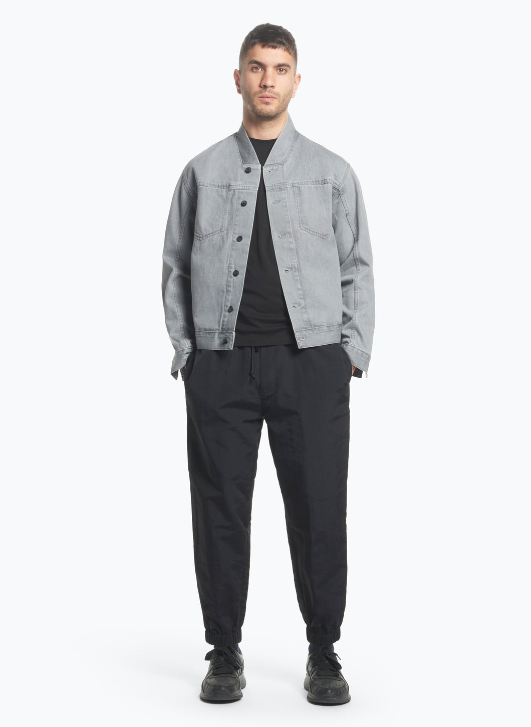 False Collar Jacket in Grey Denim