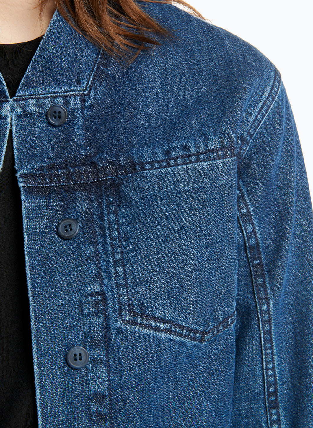 False Collar Jacket in Stoned Denim