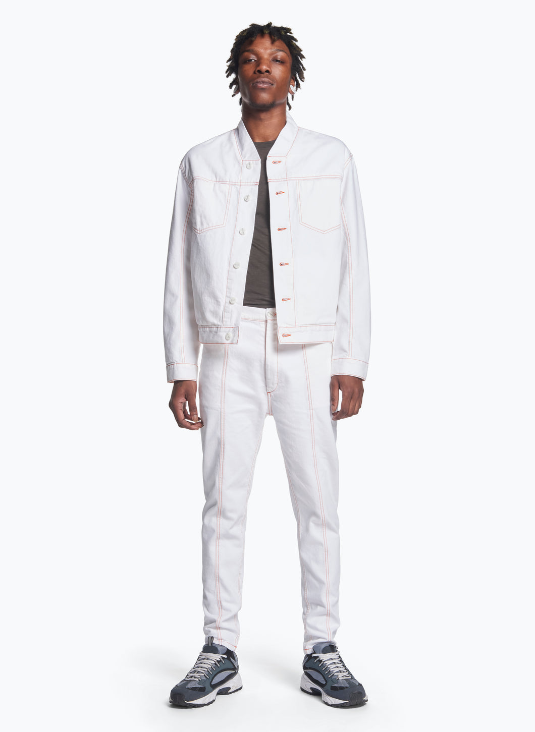False Collar Jacket in White Denim