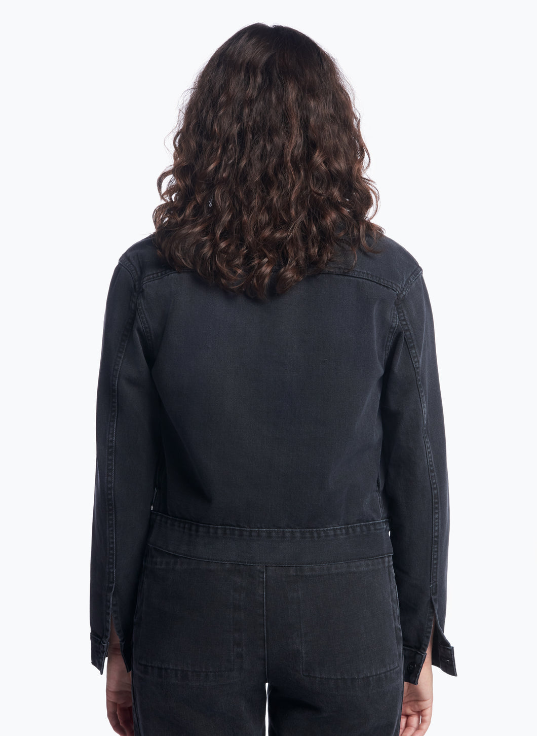 False Collar Jacket in Black Denim