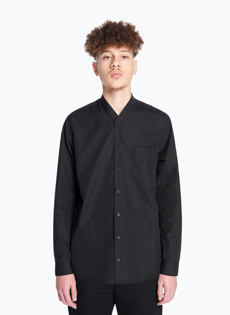 False Collar Shirt in Black Poplin