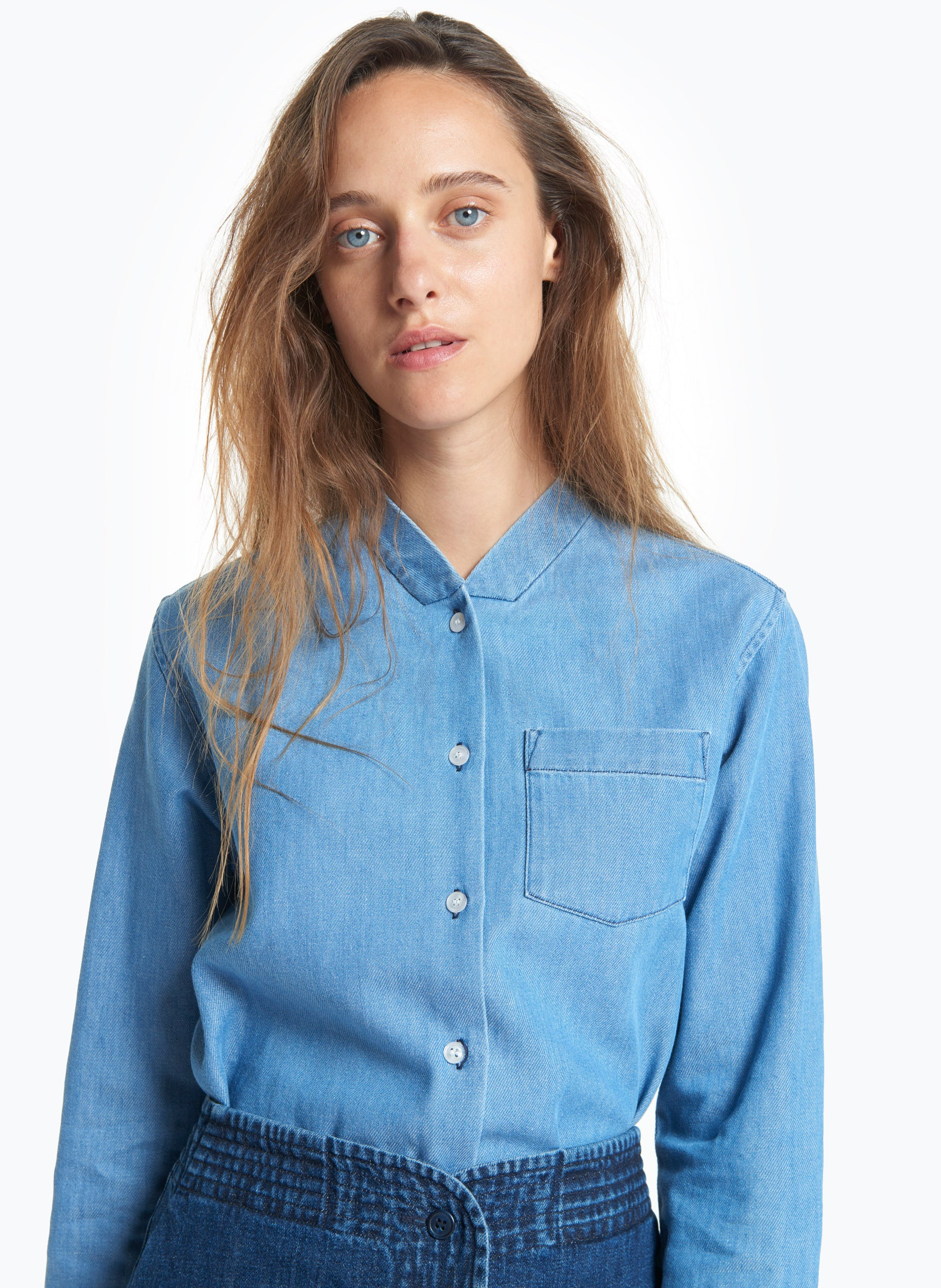 False Collar Shirt in Bleached Denim