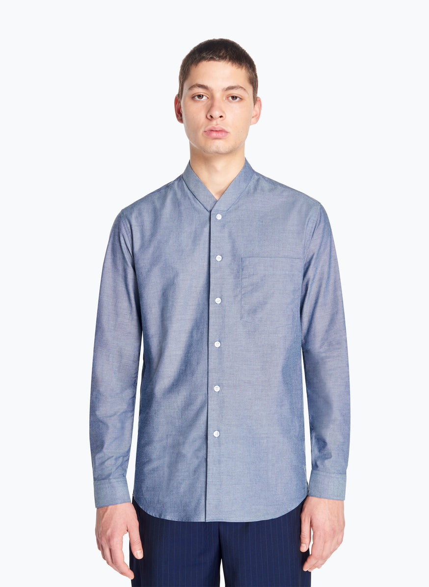 False Collar Shirt in Blue Oxford