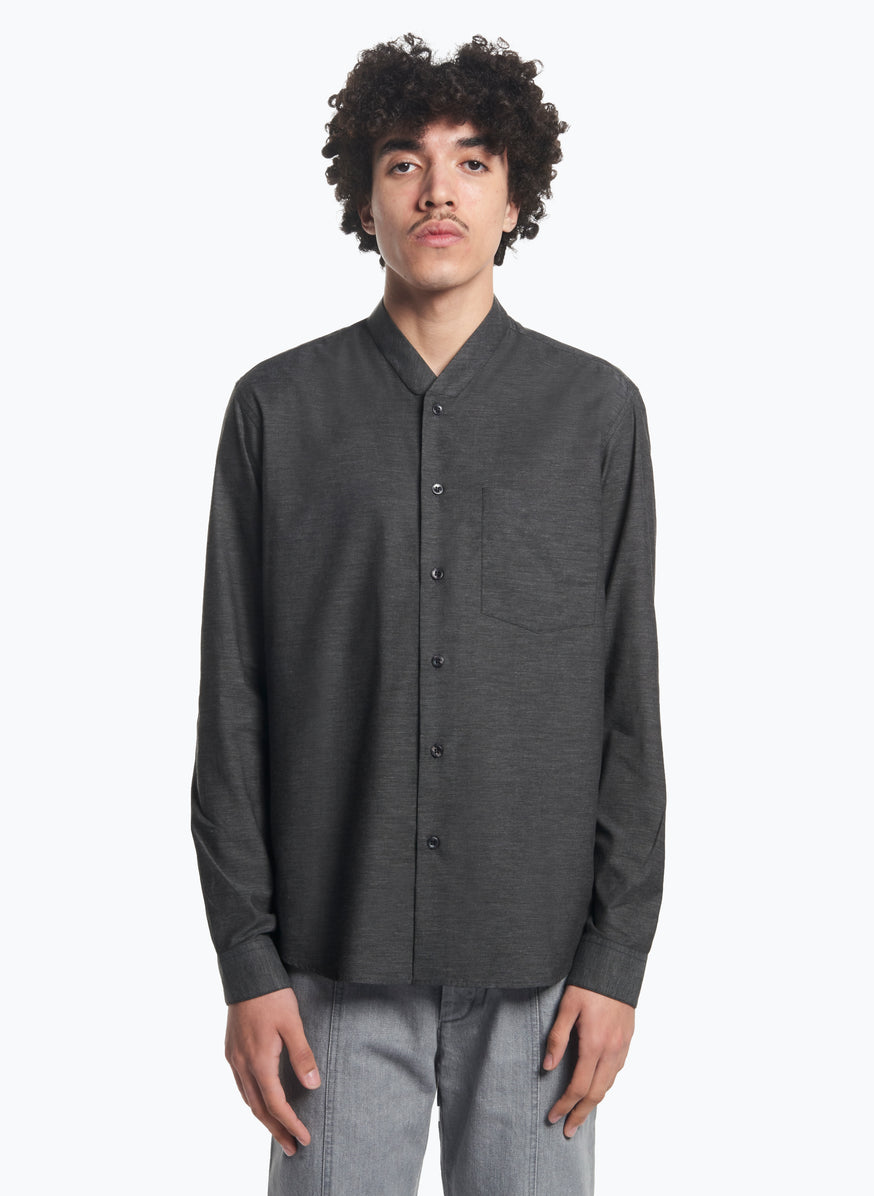False Collar Shirt in Dark Grey Oxford