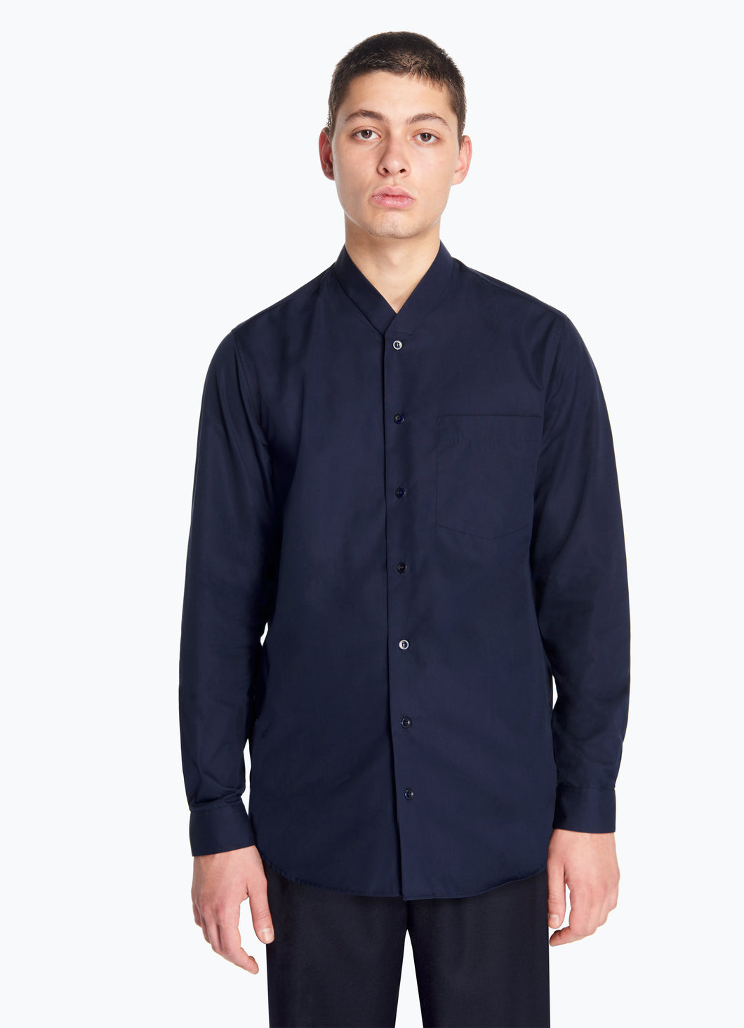 False Collar Shirt in Navy Blue Poplin
