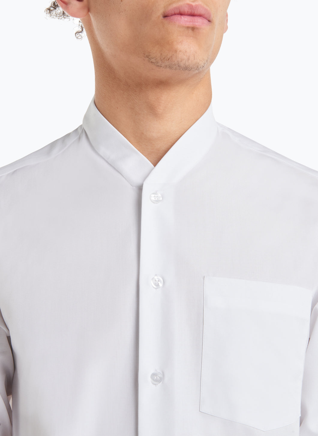 False Collar Shirt in White Ottoman