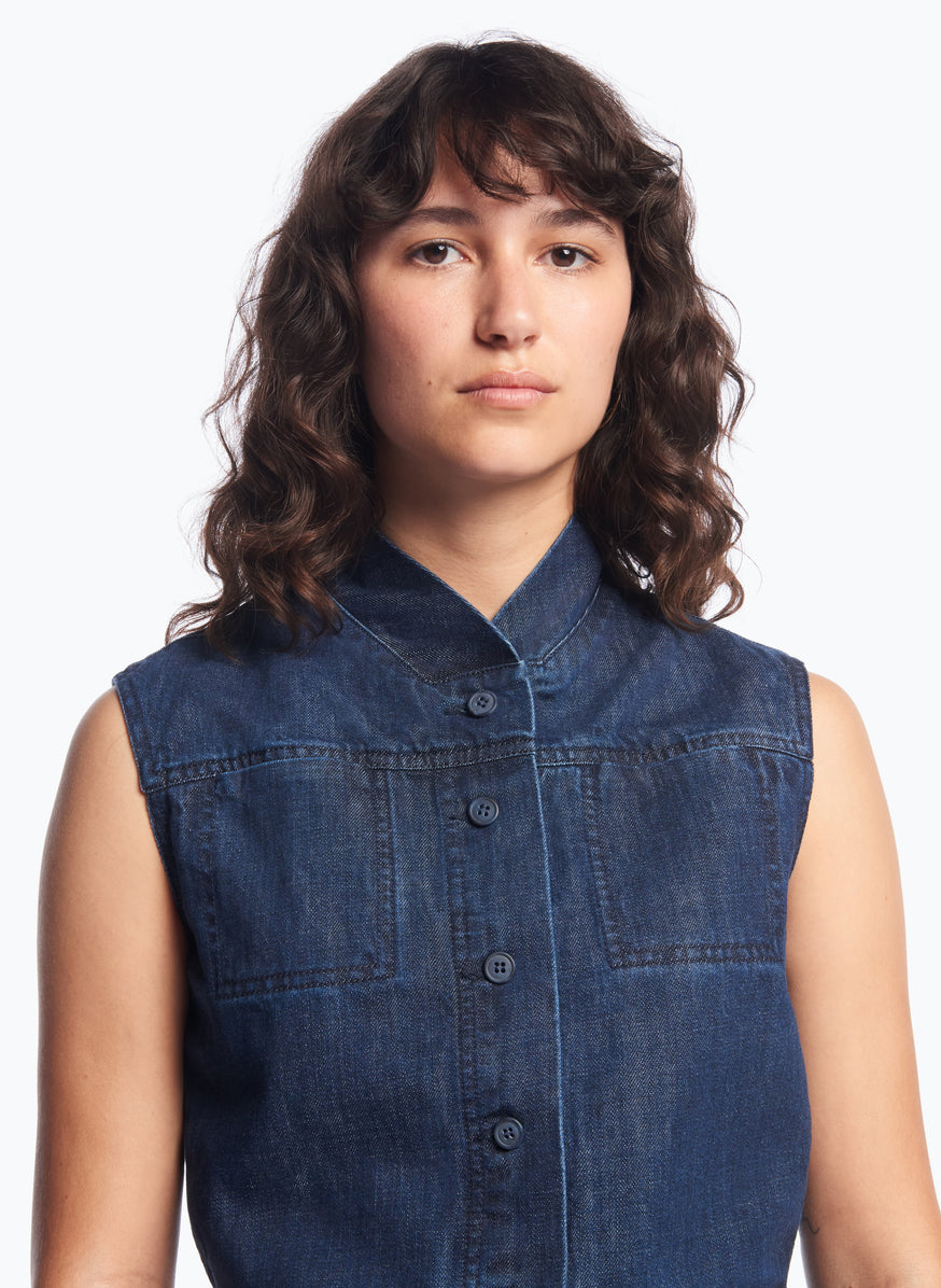 False Collar Vest in Stoned Denim
