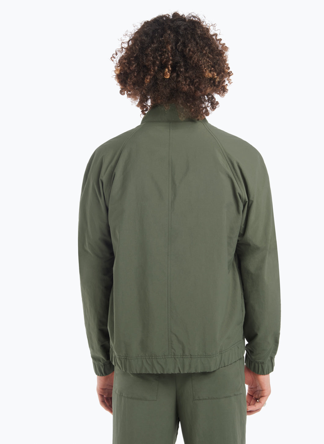 Funnel Neck Bomber Jacket in Olive Technical Material