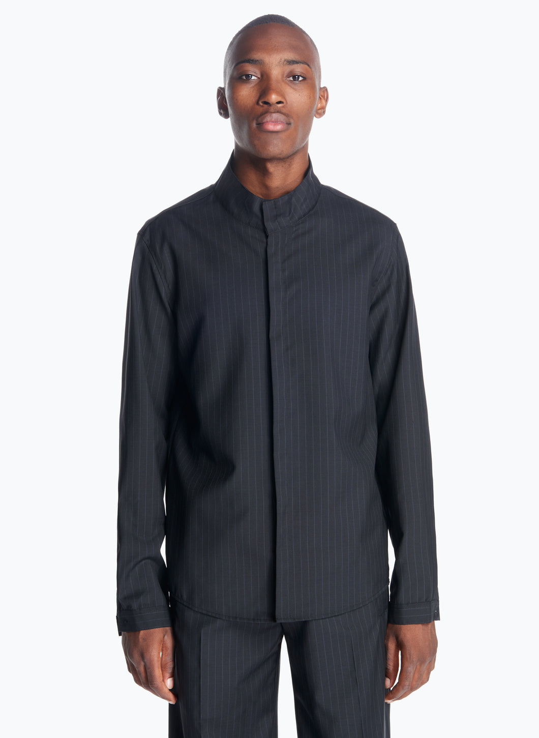 Funnel-Neck Overshirt in Black Striped Cool Wool