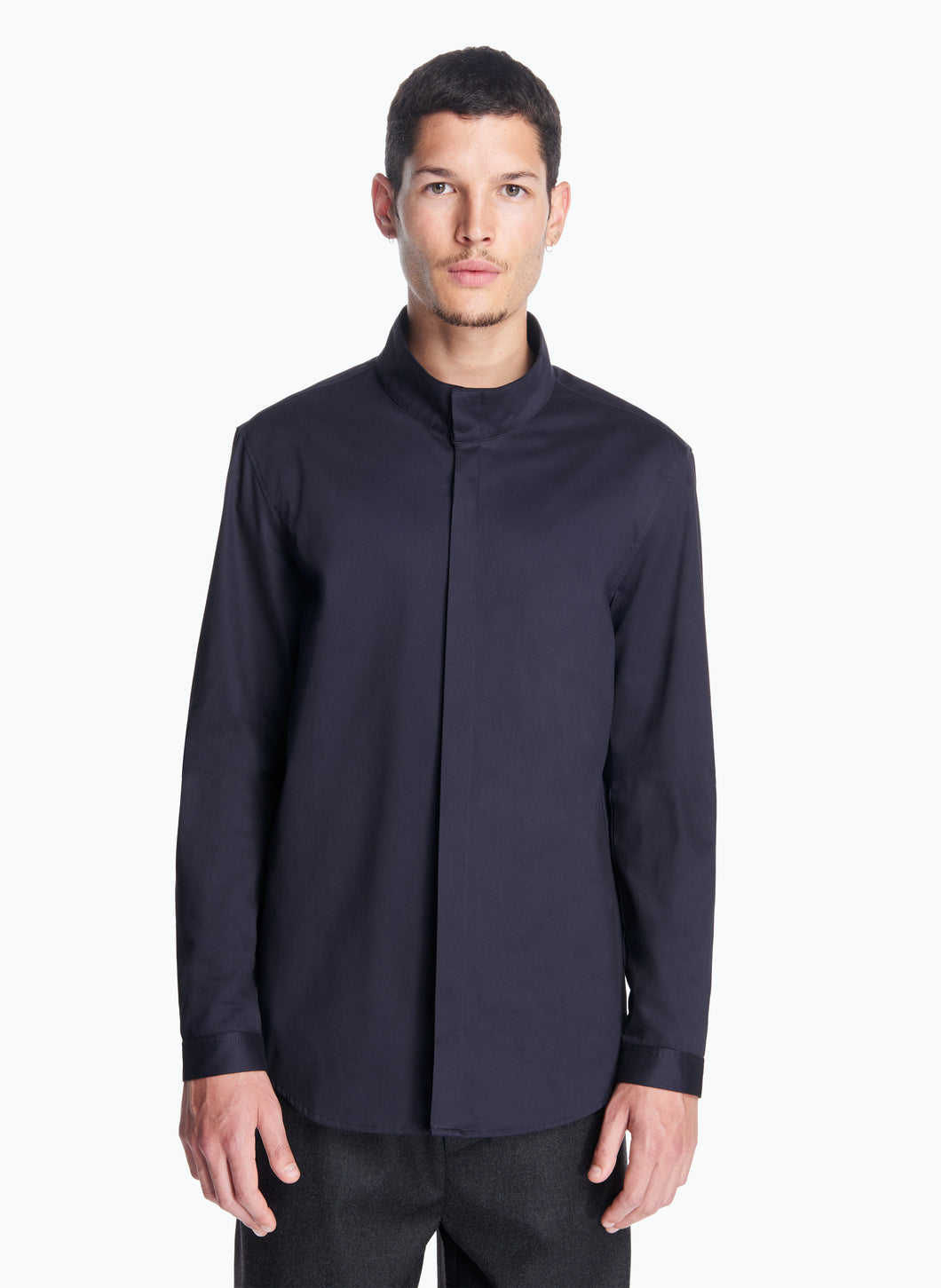 Funnel-Neck Overshirt in Navy Blue Cotton Satin