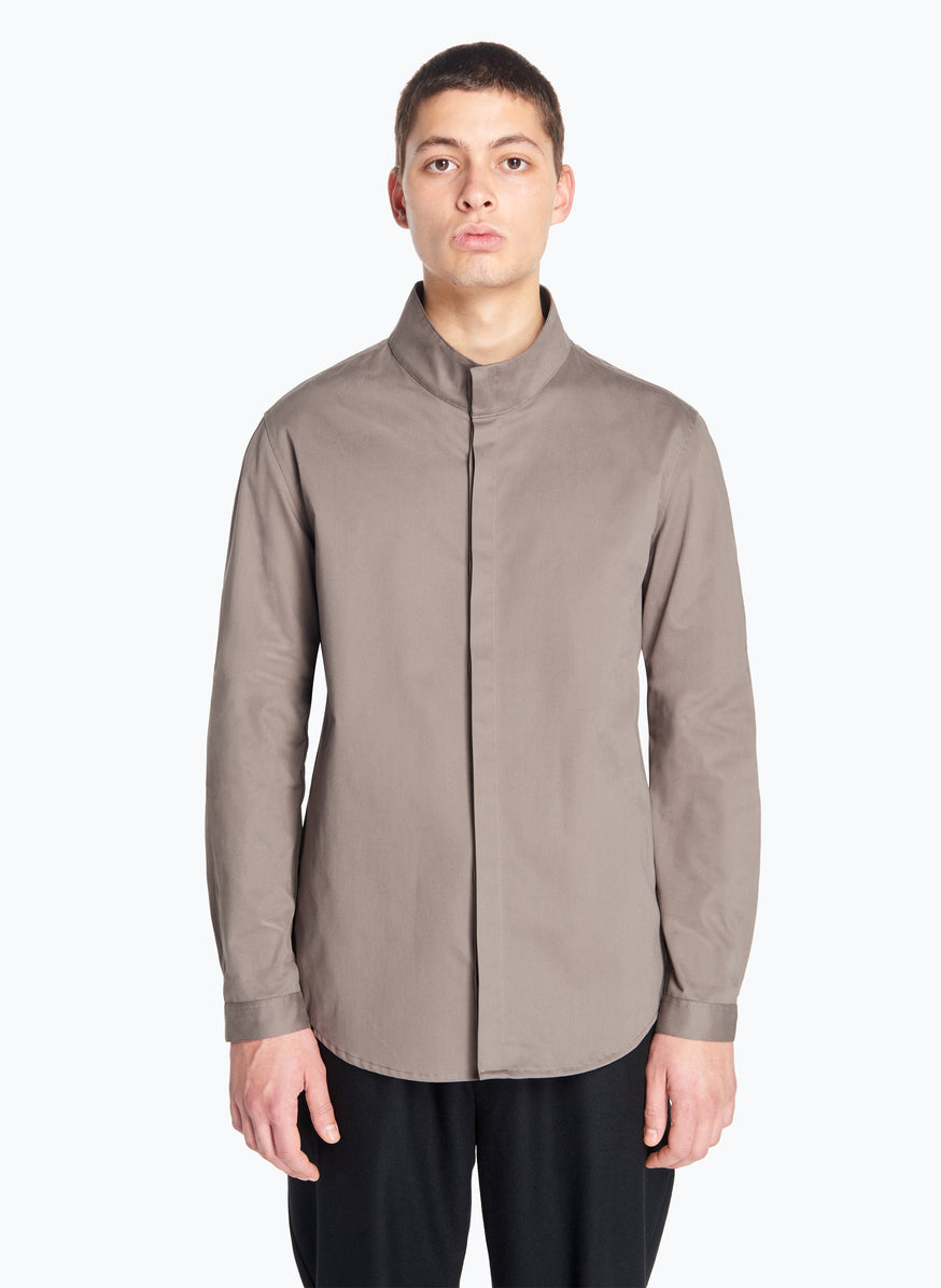 Funnel-Neck Overshirt in Olive Cotton Satin