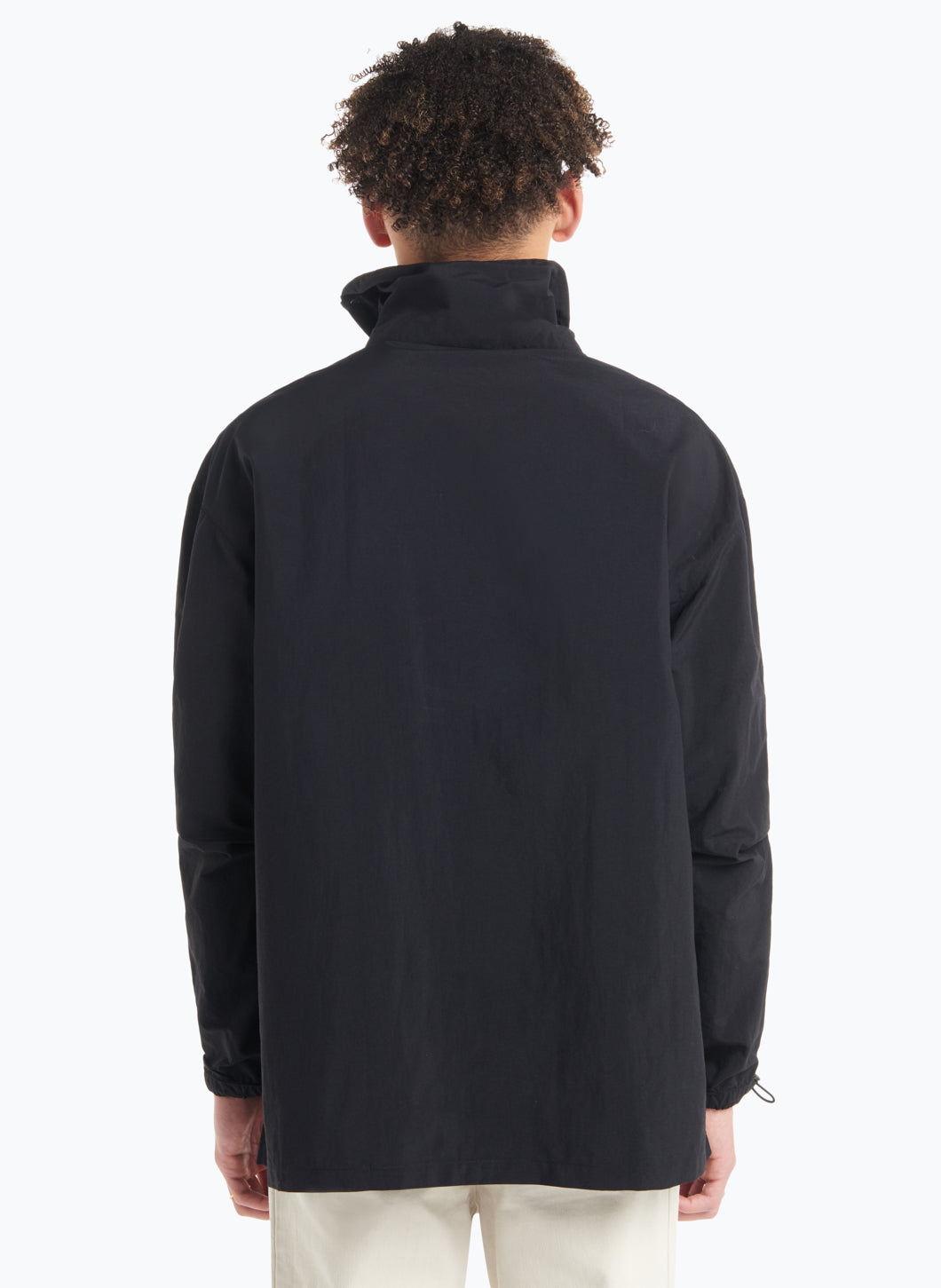High Funnel Neck Sweatshirt with Side Buttons in Black Technical Material