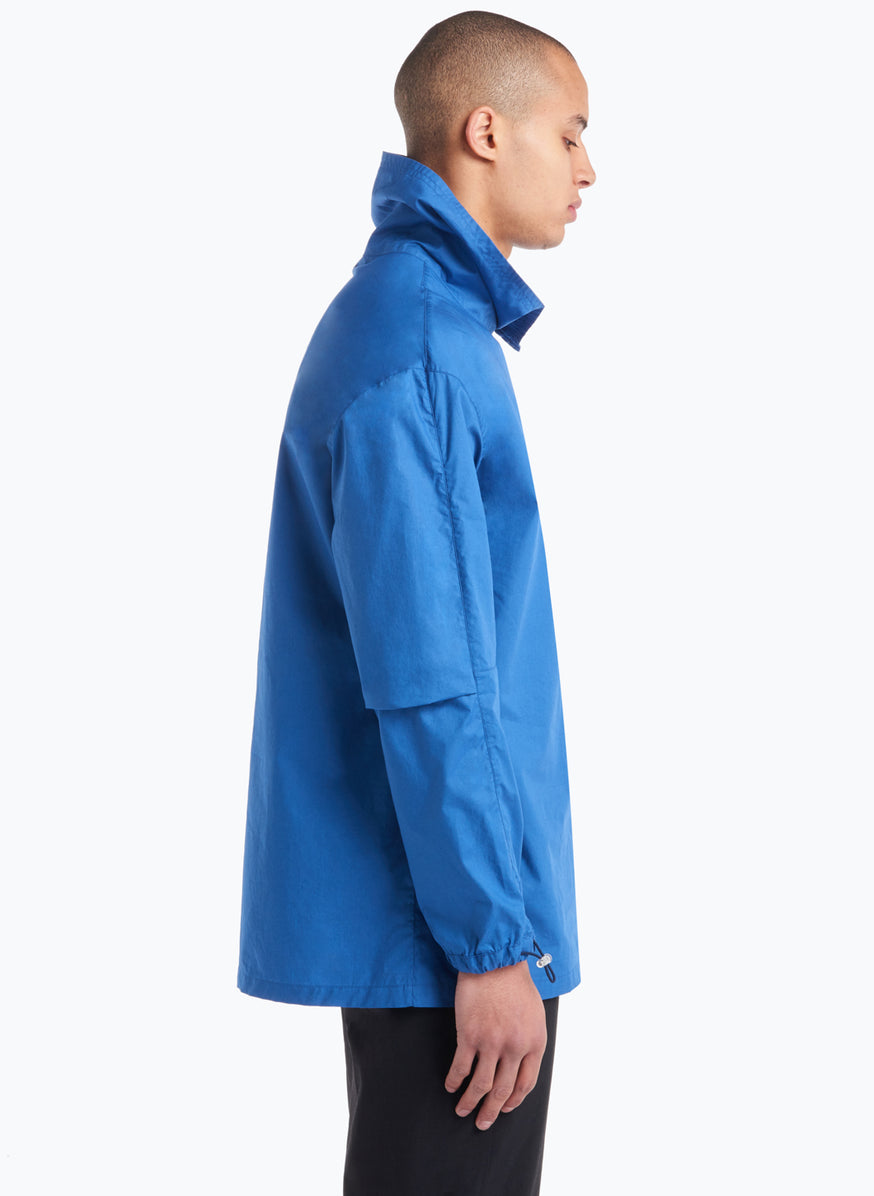 High Funnel Neck Sweatshirt with Side Buttons in Blue Poplin