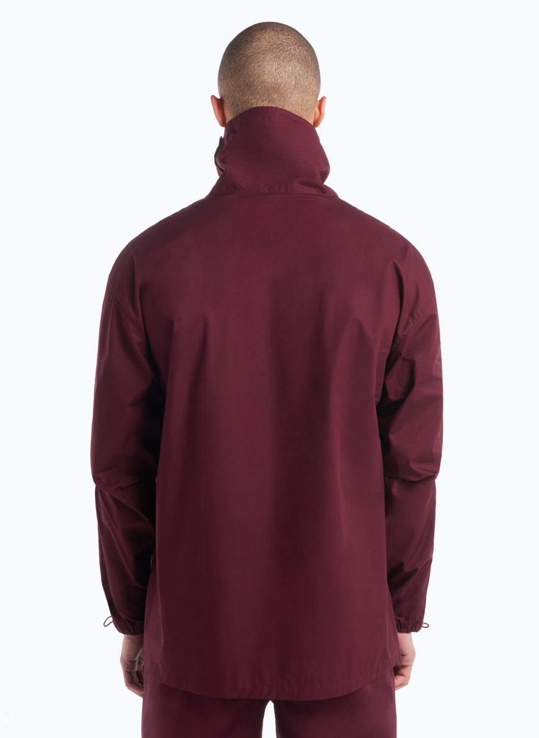 High Funnel Neck Sweatshirt with Side Buttons in Burgundy Poplin