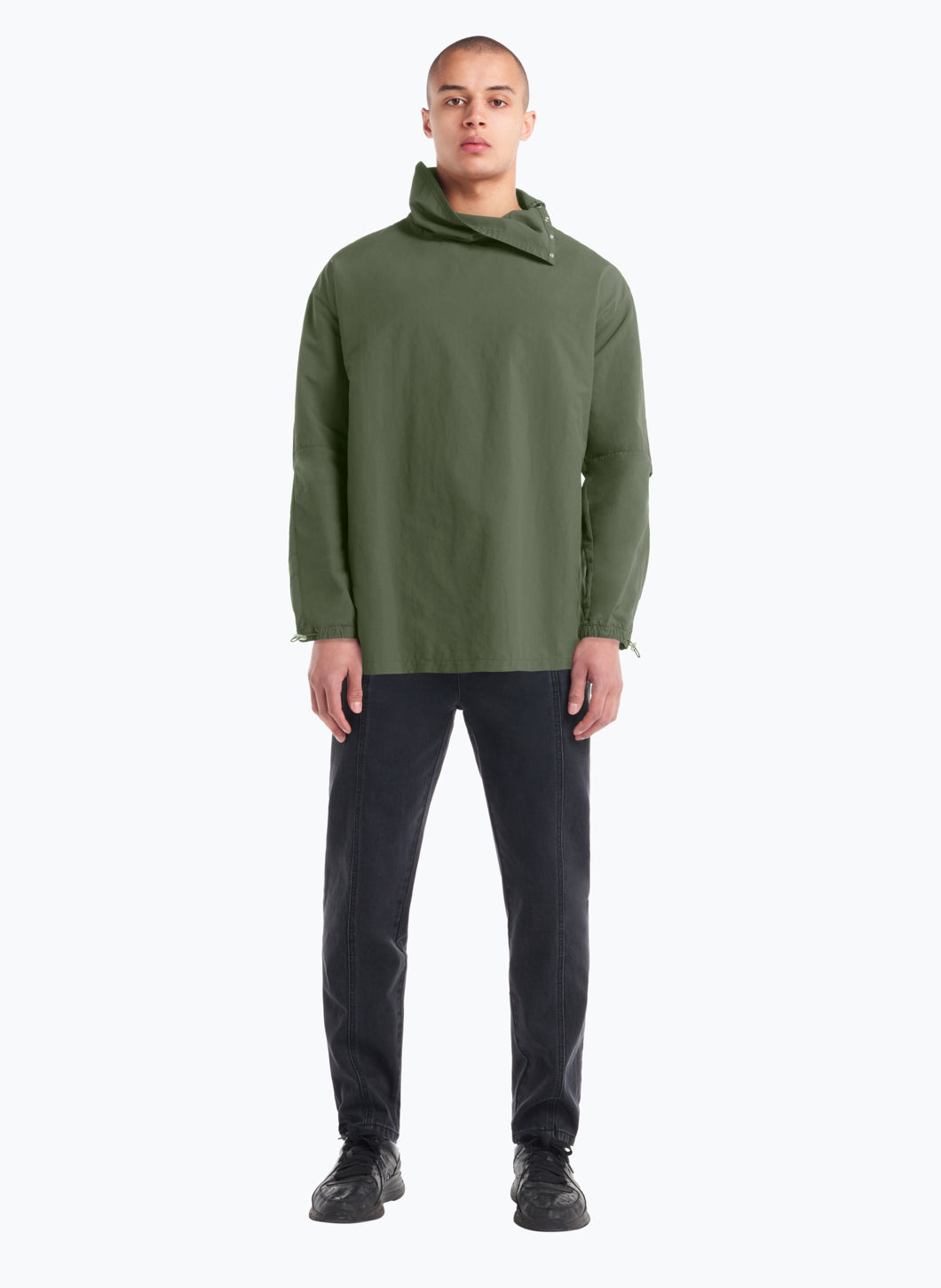 High Funnel Neck Sweatshirt with Side Buttons in Olive Technical Material