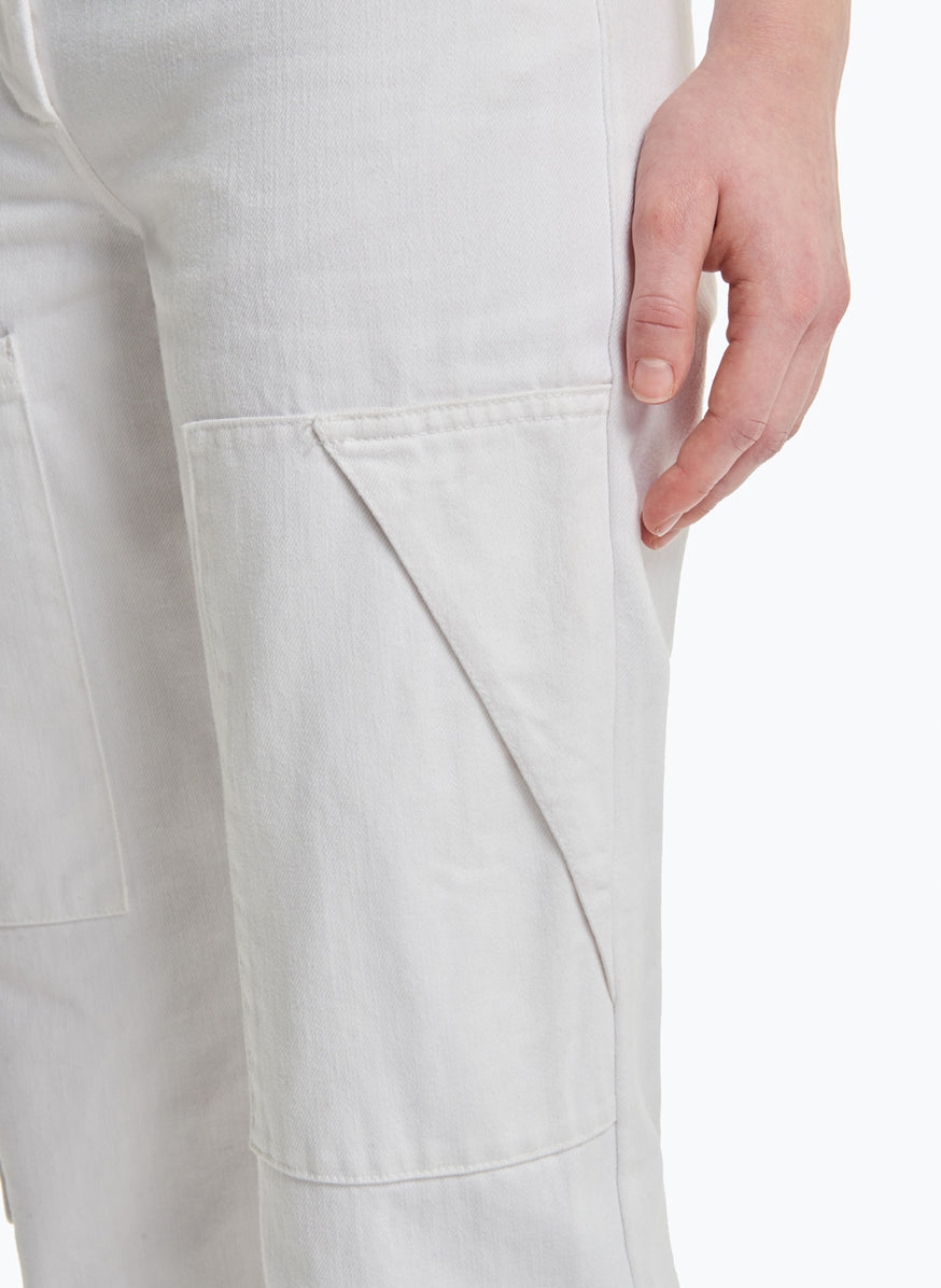 High-Waisted Pants with Multiple Pockets in White Denim
