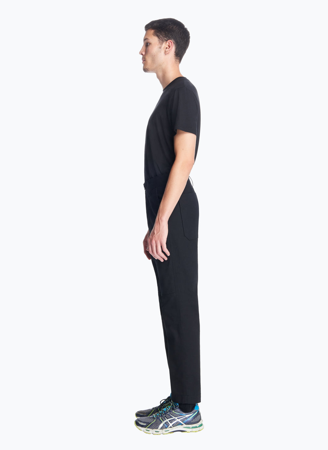 High-Waisted Pants with Reinforced Knees in Black Canvas