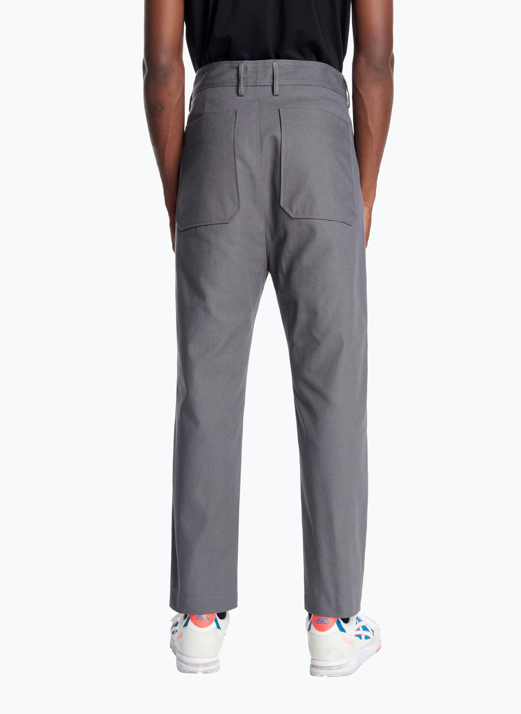 High-Waisted Pants with Reinforced Knees in Grey Canvas