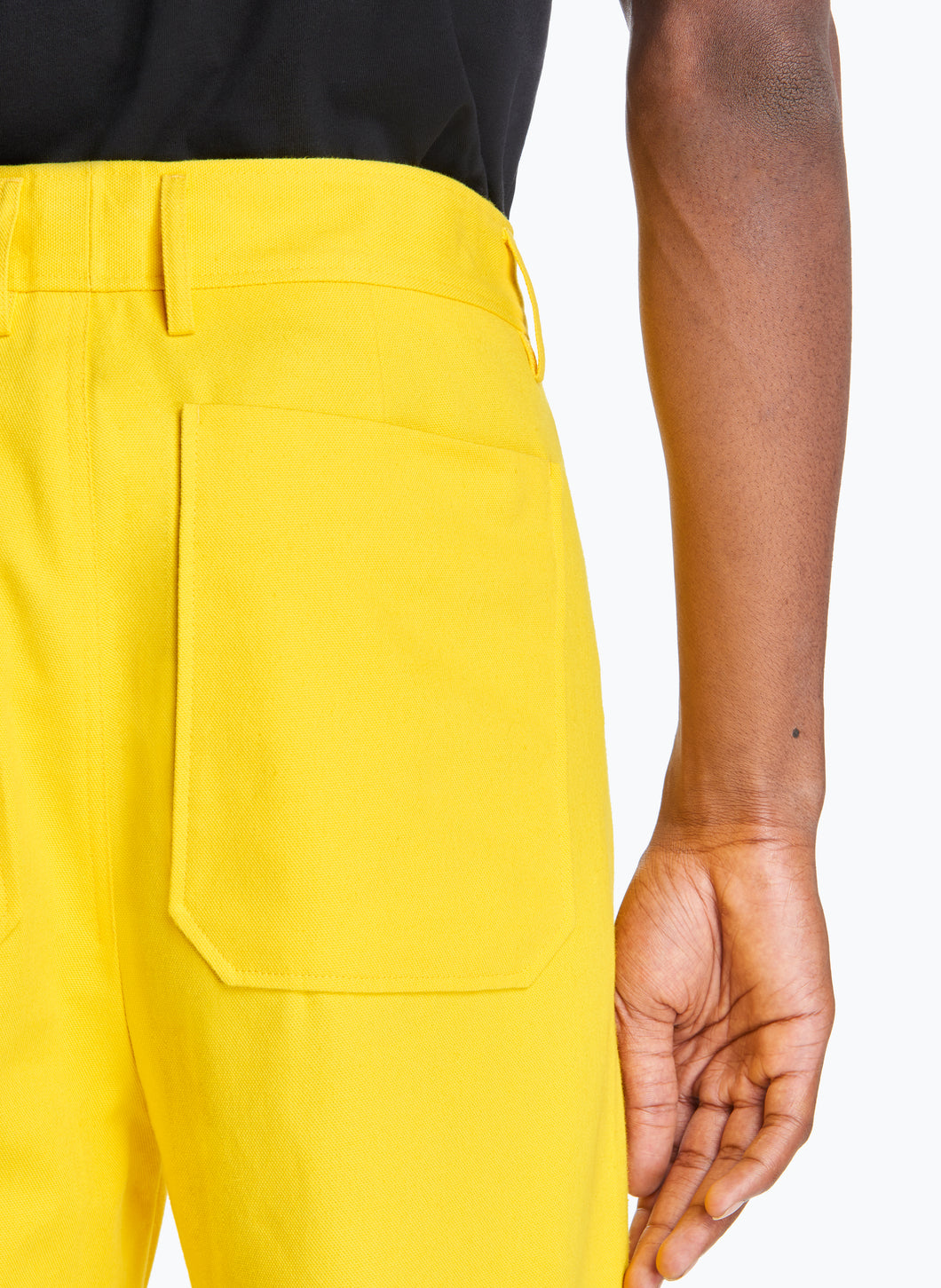 High-Waisted Pants with Reinforced Knees in Yellow Canvas
