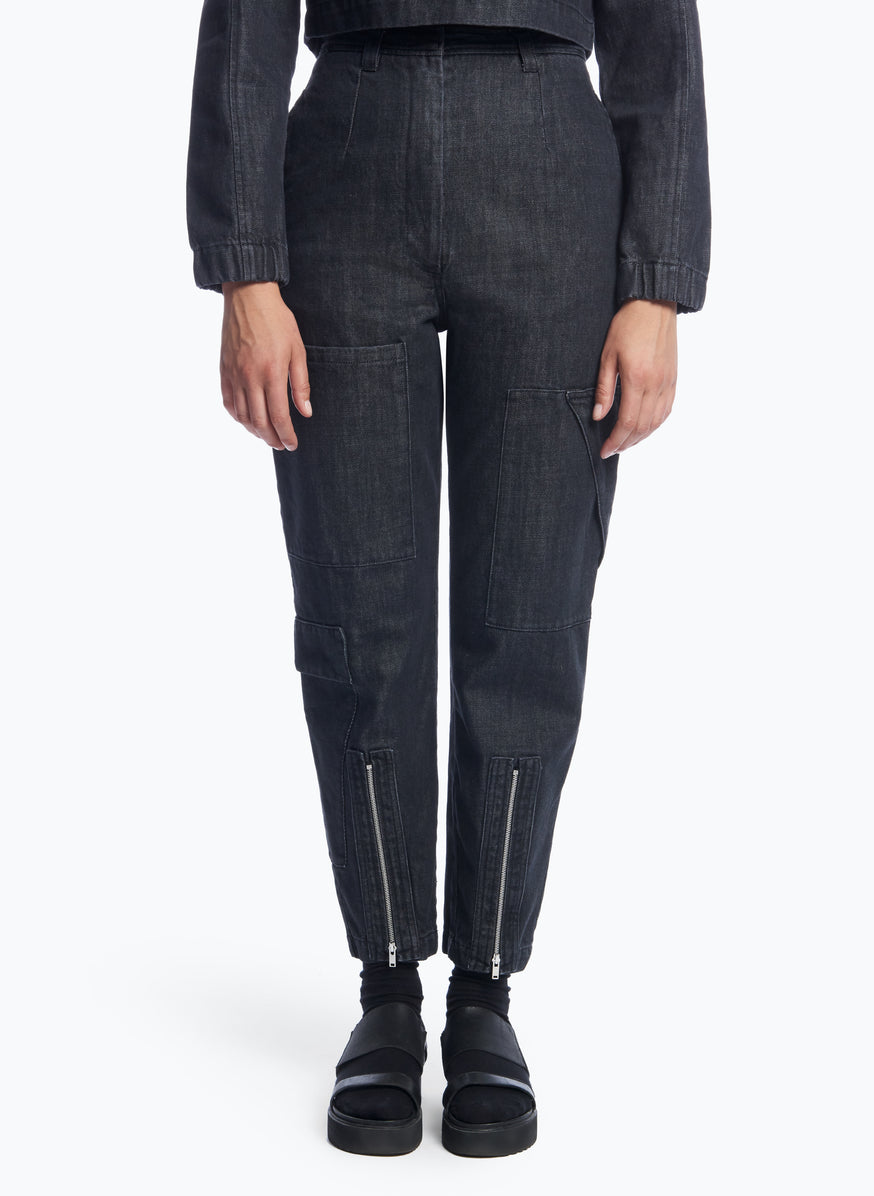 High-Waisted Pants with Multiple Pockets in Rinsed Denim