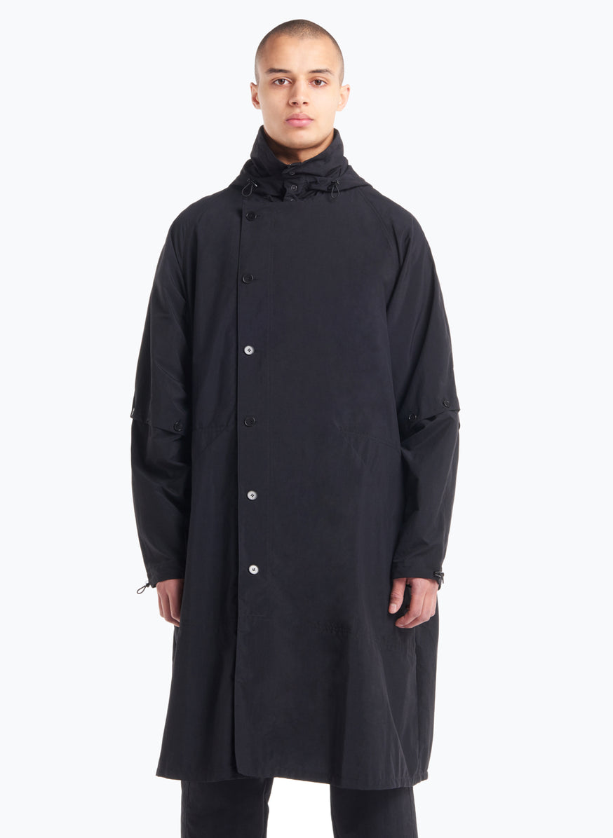 Hooded Overcoat in Black Technical Material