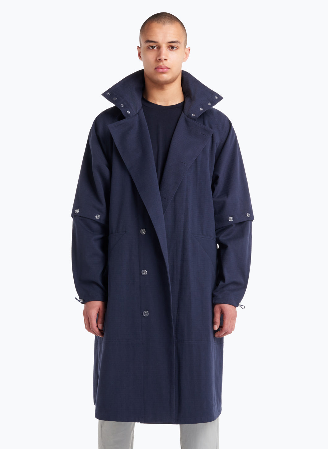 Hooded Overcoat in Navy Blue Cotton Ripstop