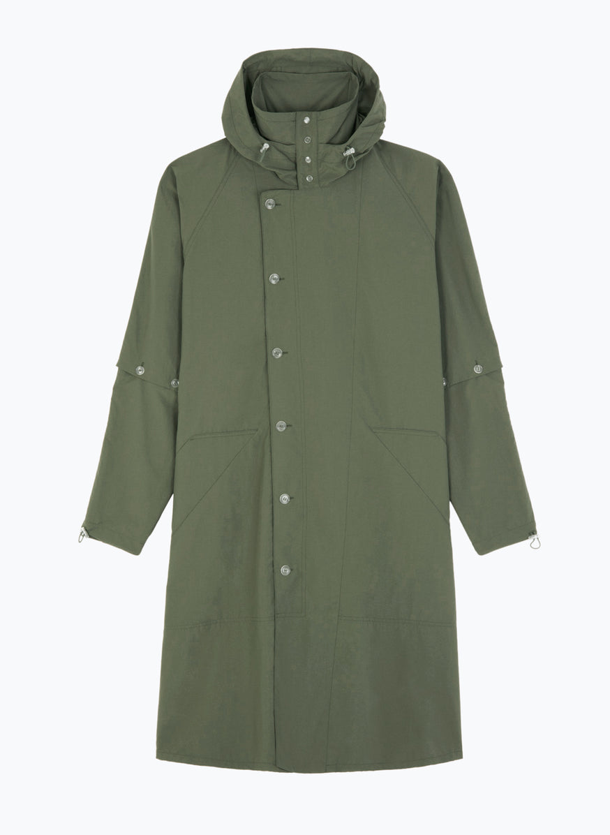 Hooded Overcoat in Olive Technical Material