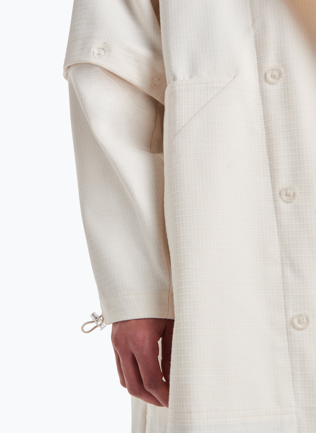 Hooded Overcoat in White Cotton Ripstop
