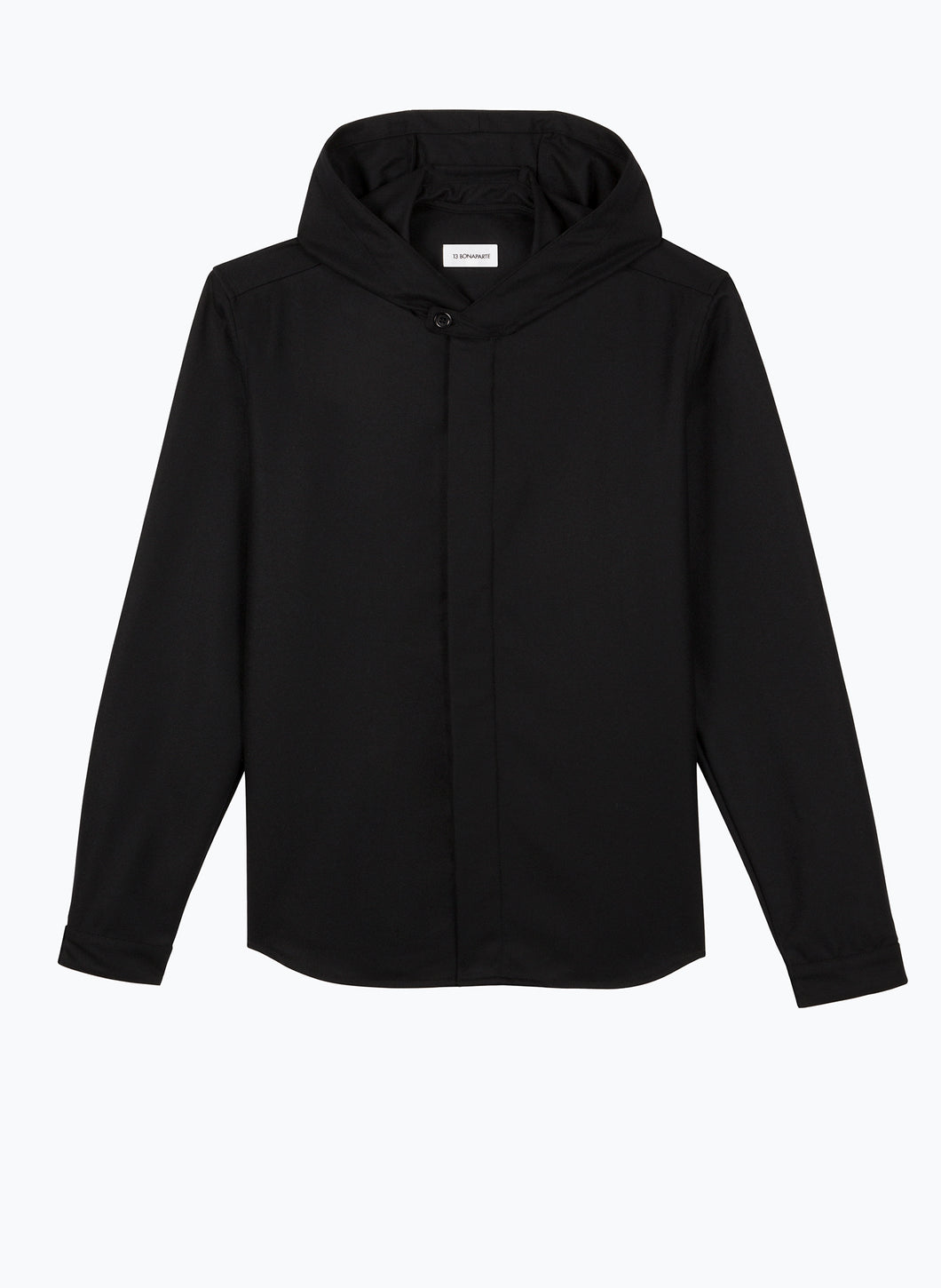 Hooded Overshirt in Black Flannel Wool