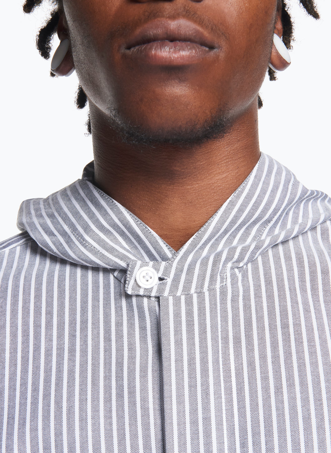 Hooded Overshirt in Grey Striped Oxford