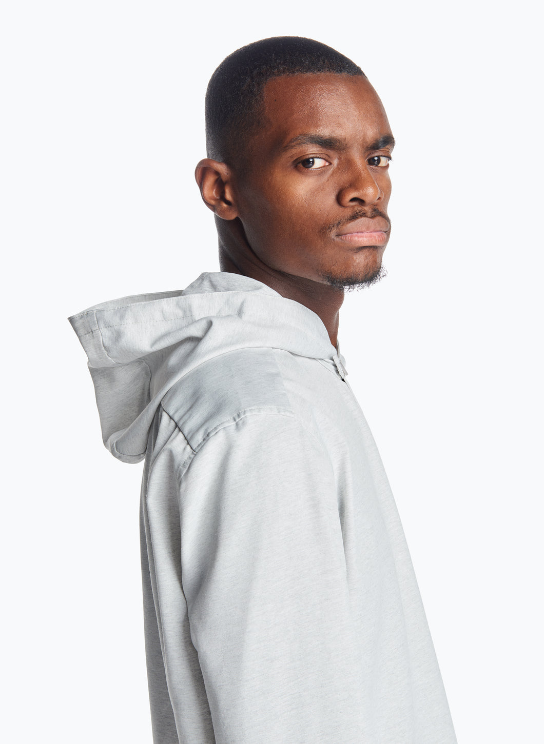 Hooded Overshirt in Light Grey Recycled Cotton