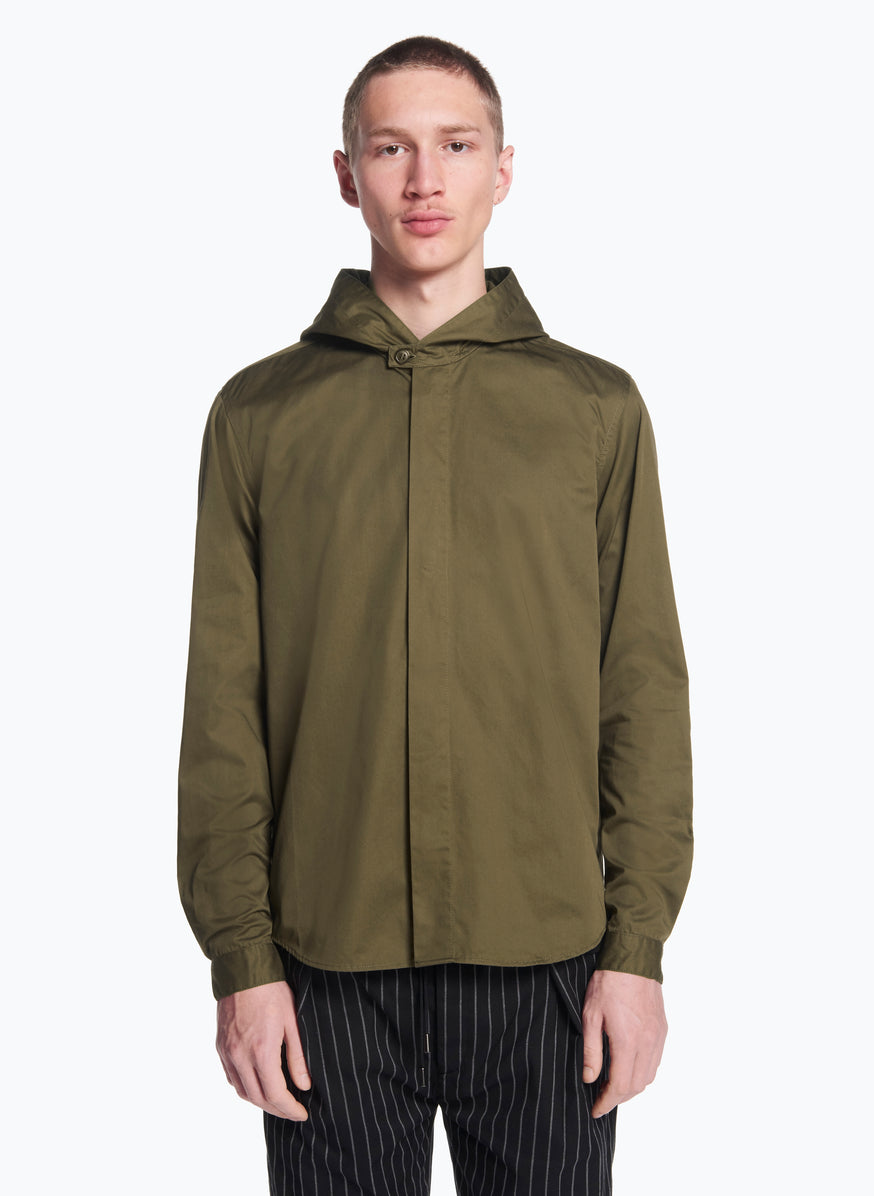 Hooded Overshirt in Olive Pima Cotton