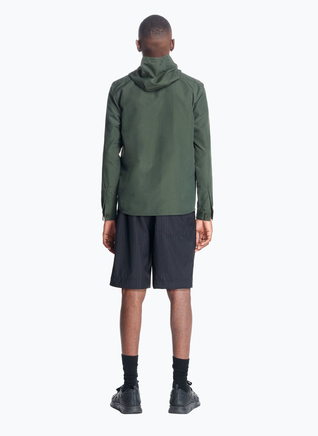 Hooded Overshirt in Olive Technical Ottoman