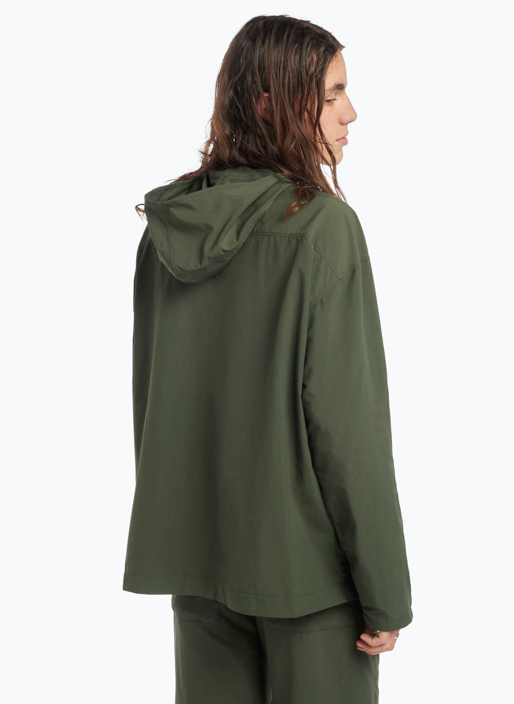 Hooded Overshirt with Rounded Neckline in Olive Technical Material
