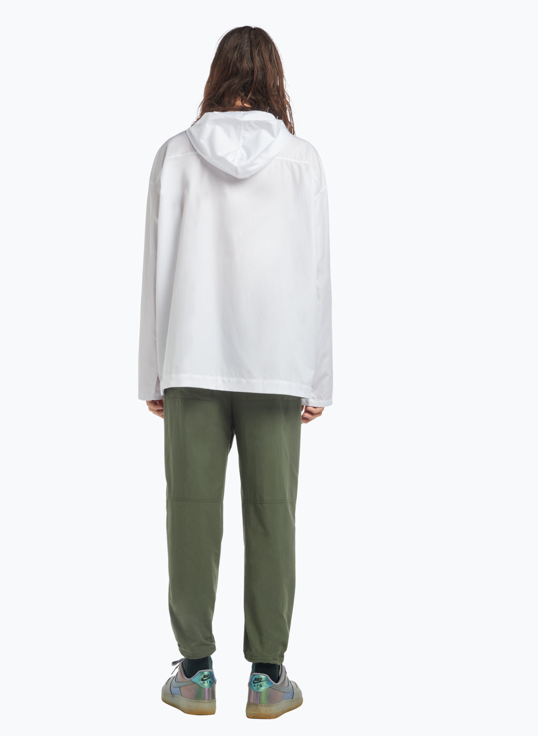 Hooded Overshirt with Rounded Neckline in White Poplin