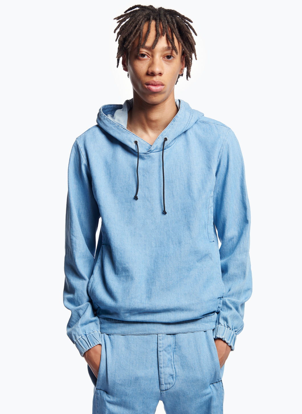 Hooded Sweatshirt with Side Cutouts in Bleached Denim