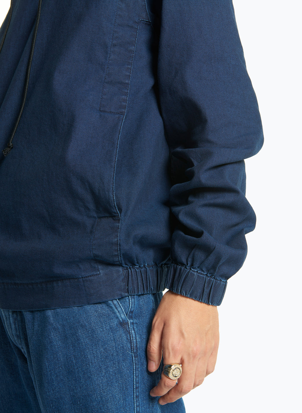 Hooded Sweatshirt with Side Cutouts in Indigo Denim