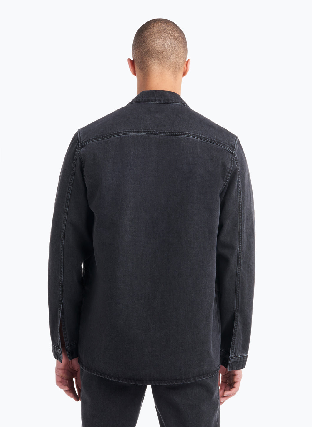 Jacket-Shirt with Flap Pockets in Black Denim