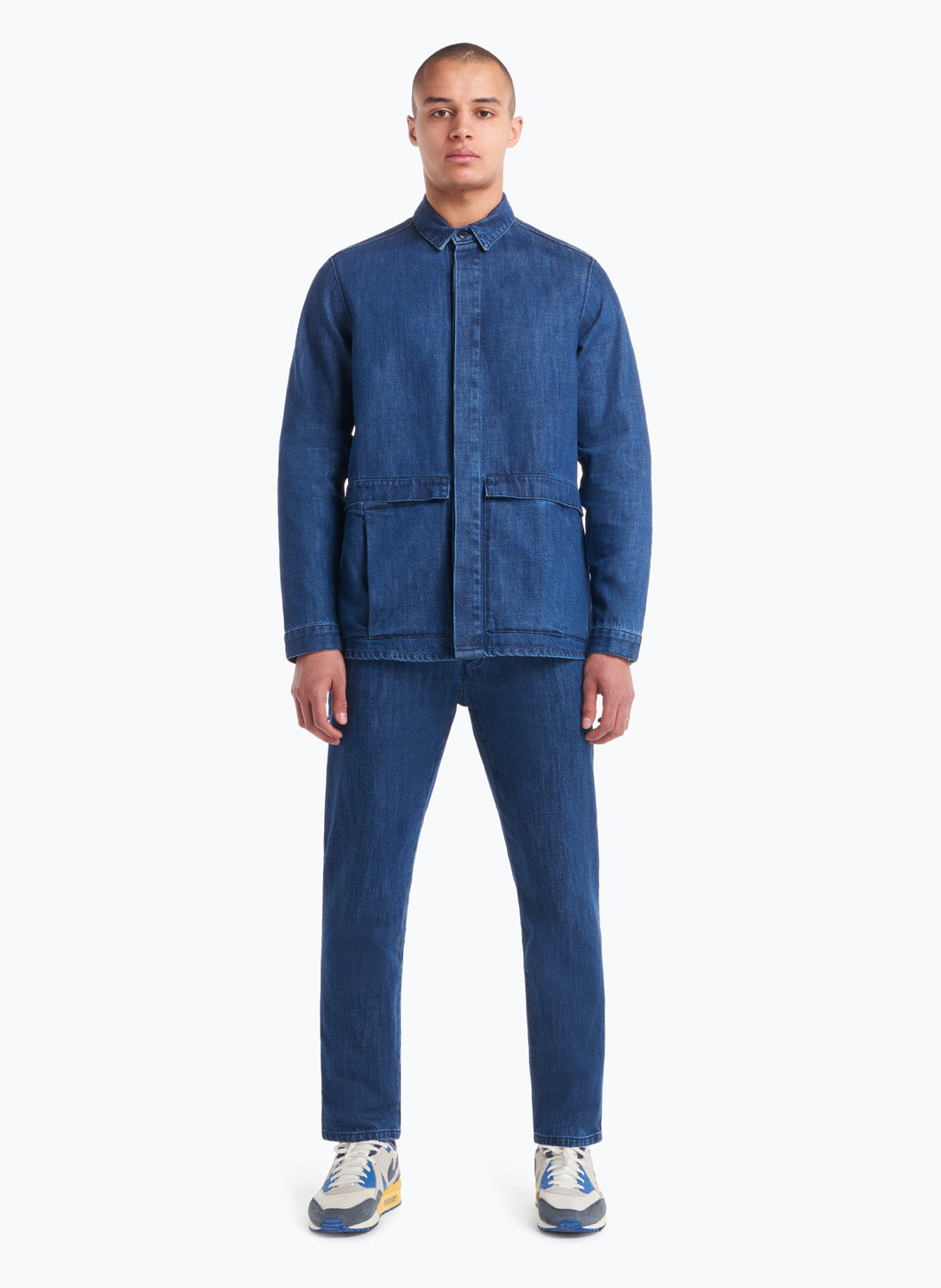 Jacket-Shirt with Flap Pockets in Stoned Denim