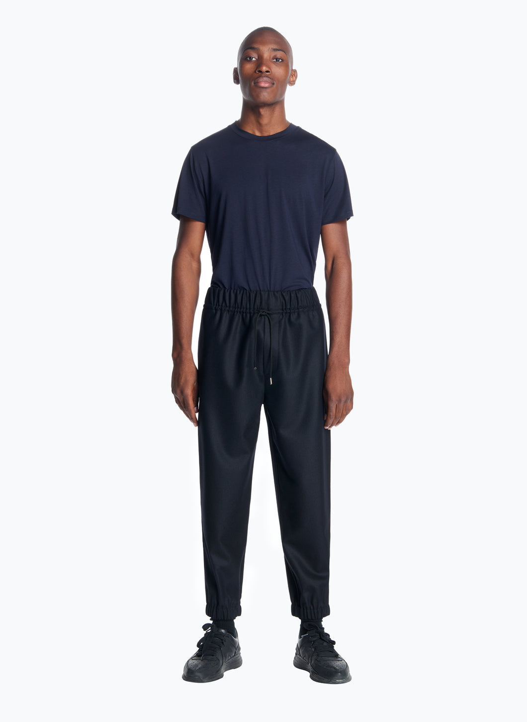 Jogging Pants in Black Flannel Wool