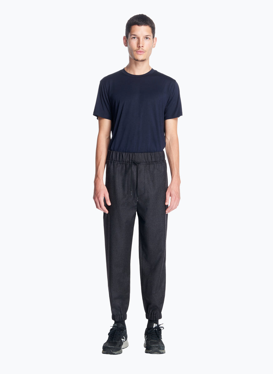 Jogging Pants in Dark Grey Flannel Wool