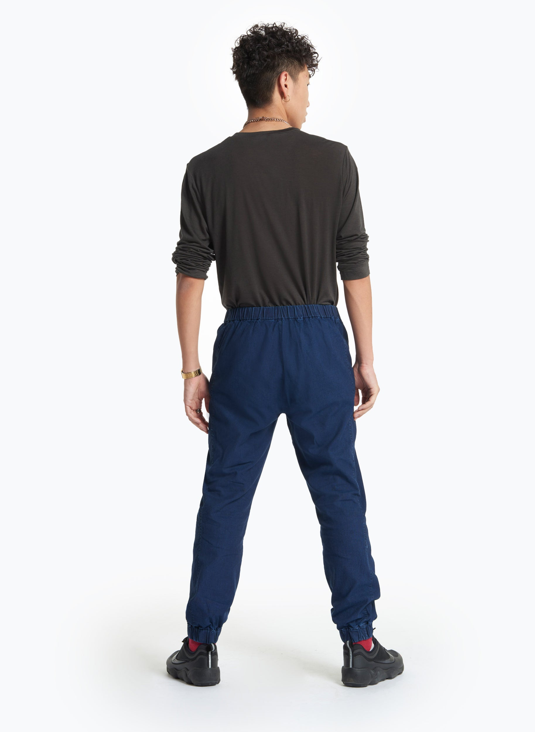Jogging Pants with Side Cutouts in Indigo Denim
