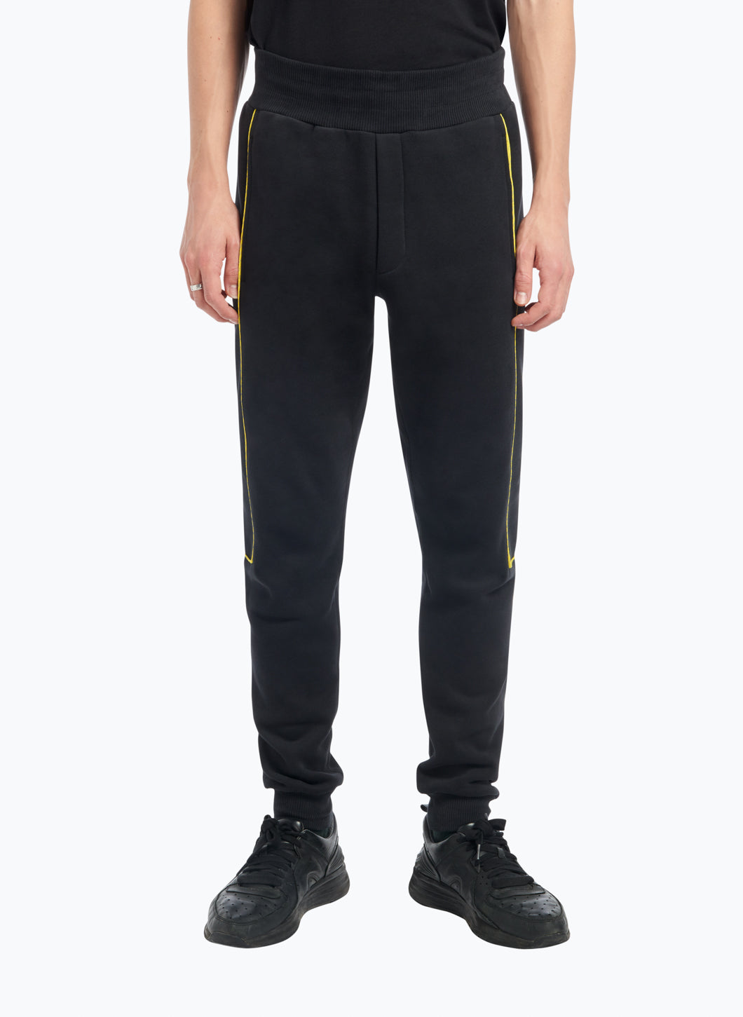 Jogging Pants with Side Cutouts in Black Fleece with Yellow Trim