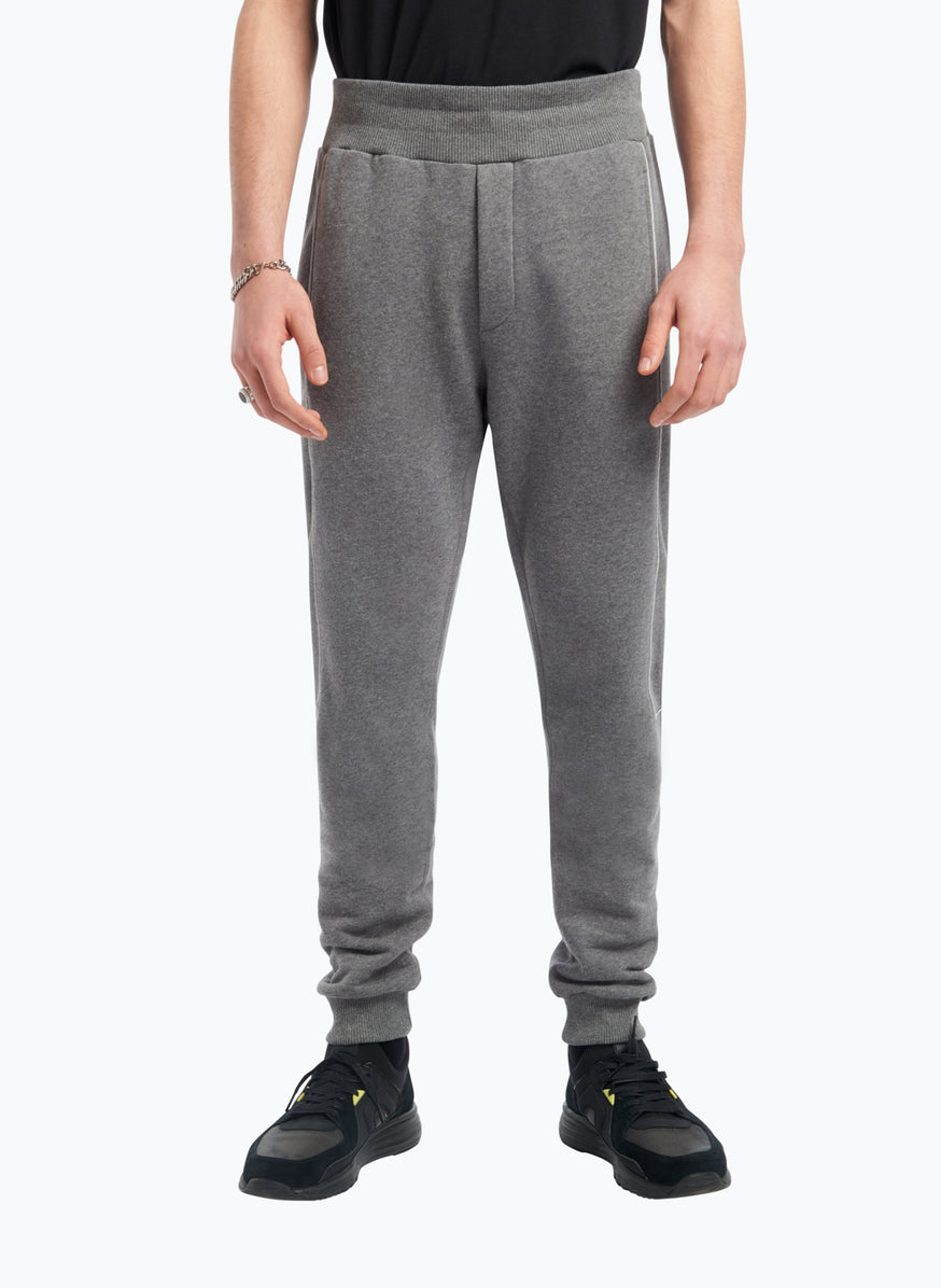 Jogging Pants with Side Cutouts in Grey Fleece with White Trim