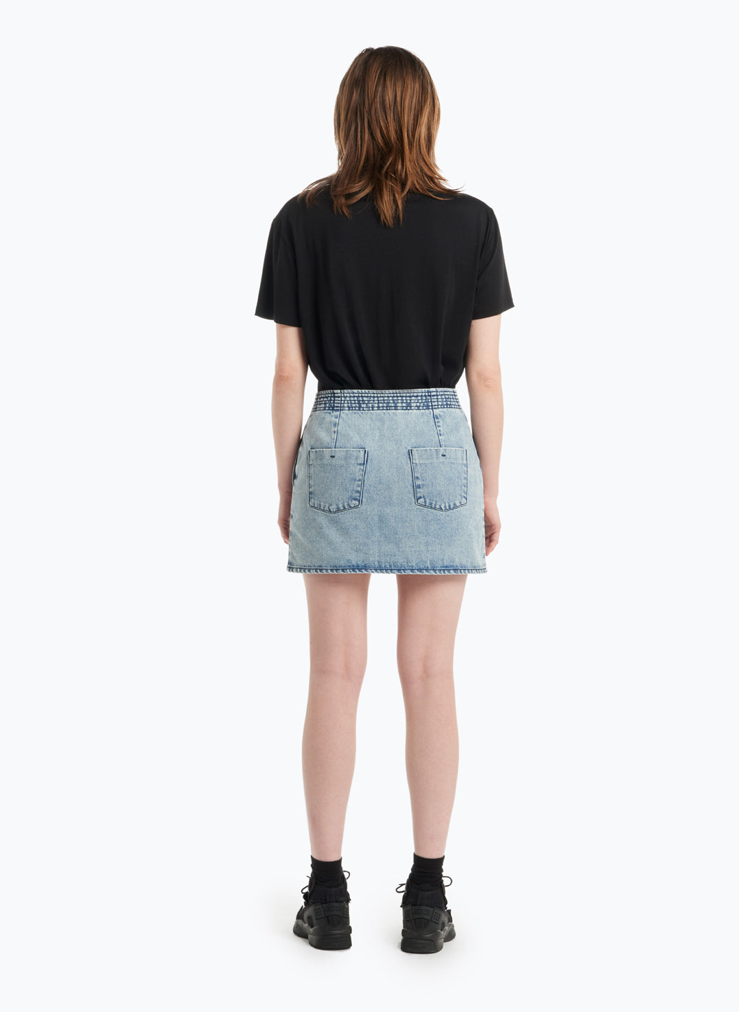 Judo Miniskirt in Bleached Denim