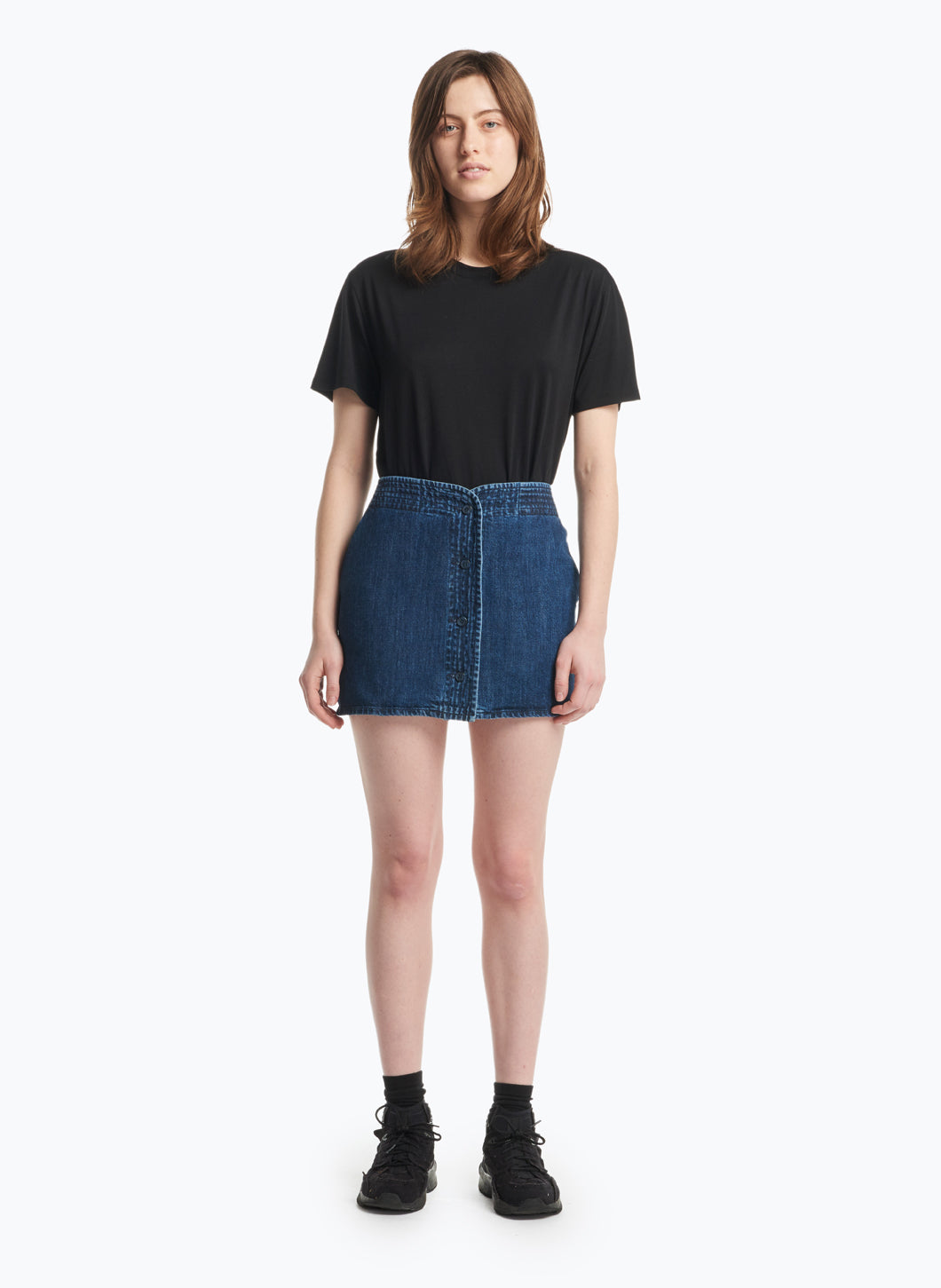 Judo Miniskirt in Stoned Denim