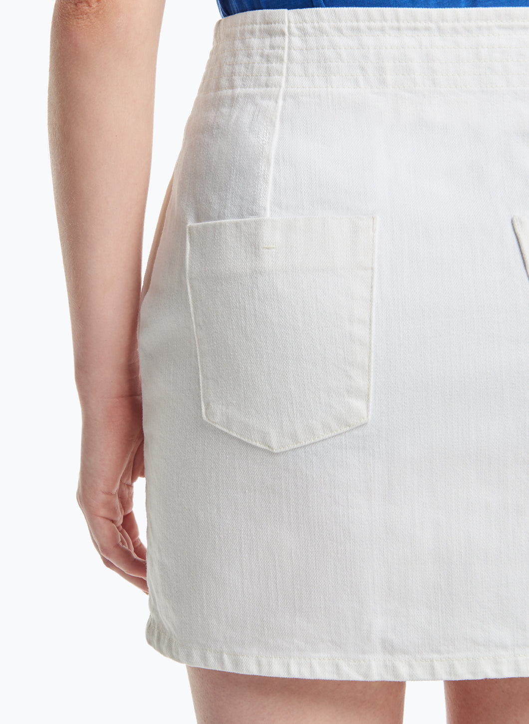 Judo Miniskirt in White Denim