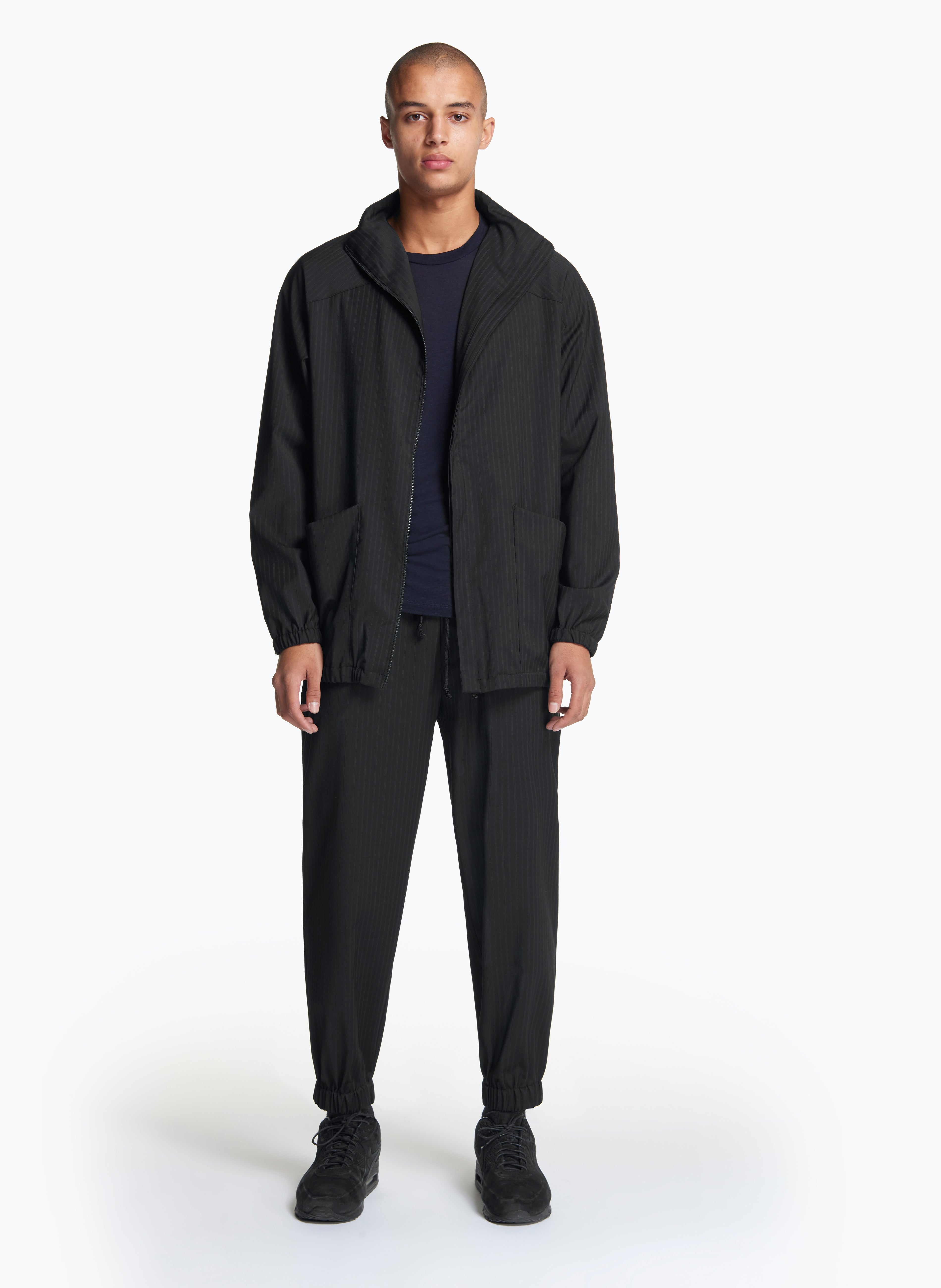Long Bomber Jacket in Black Striped Cool Wool
