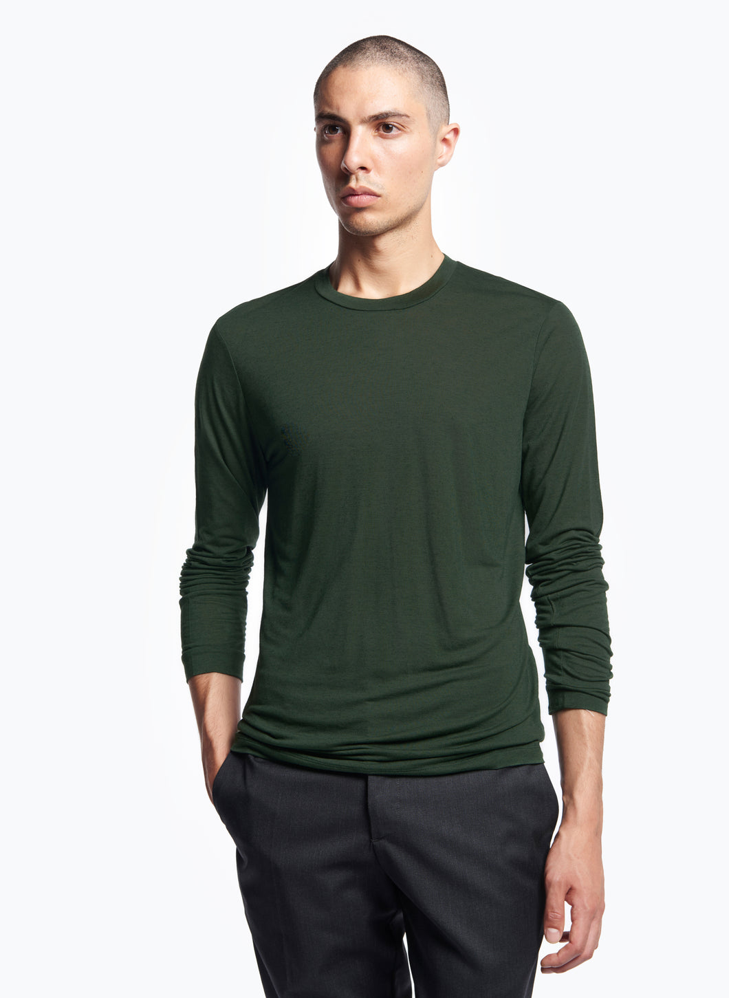 Long Sleeve Crew Neck T-Shirt in English Green Tencel