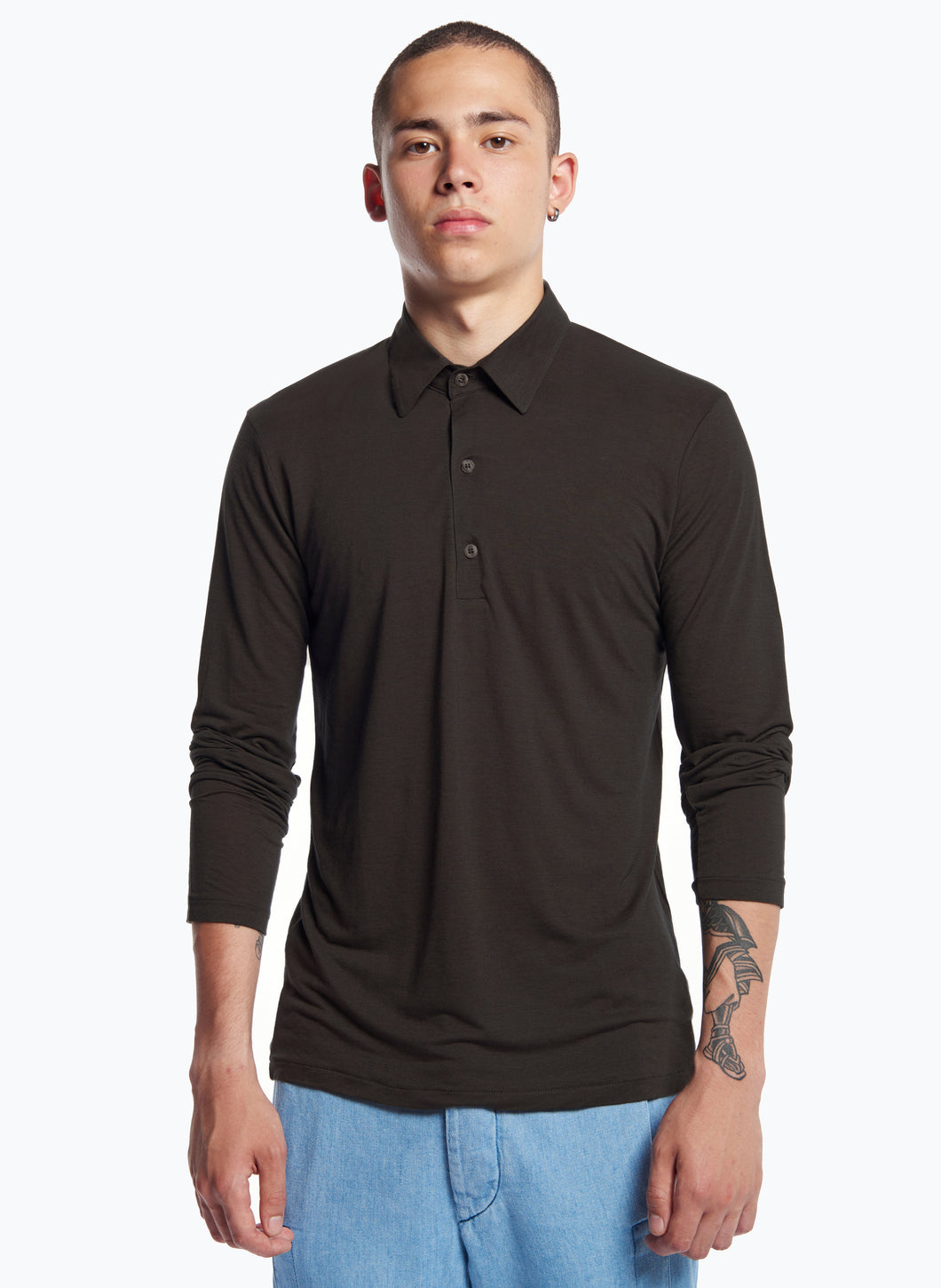 Long Sleeve Poloshirt in Dark Grey Tencel